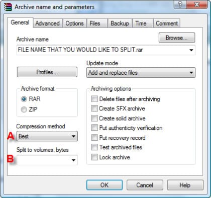 Archive Name and Parameters